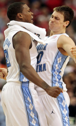 Thompson and Hansbrough Celebrate