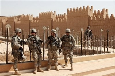 U S soldiers guarding the ancient city