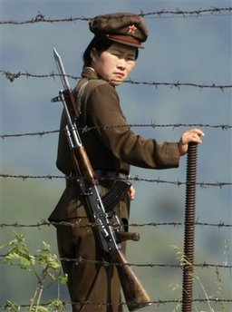 June 3, 2009 photo of N Korean female soldier